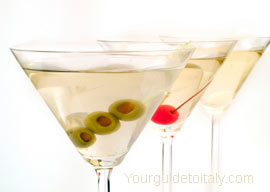 Three different Martini cocktails